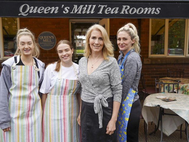 Dana Russell and staff at Queen's Mill Tea Rooms