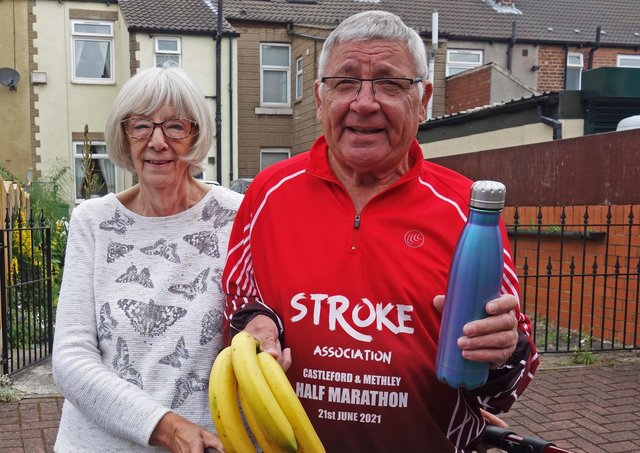 Keith Moorby, 74, with wife Joyce, ready to set off on a half-marathon walk to raise money for the Stroke Association.