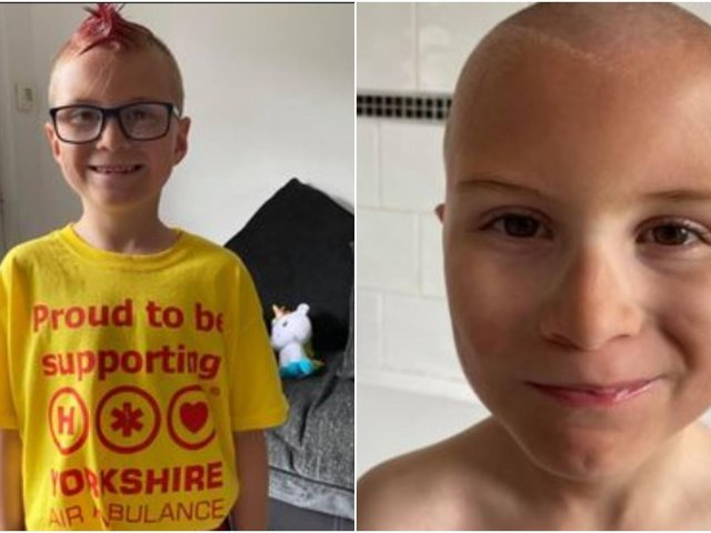 Seven year old Harry who lives near Yorkshire Air Ambulance's air support unit in Wakefield has raised an impressive £580 by shaving his beloved Mohawk for the lifesaving charity.