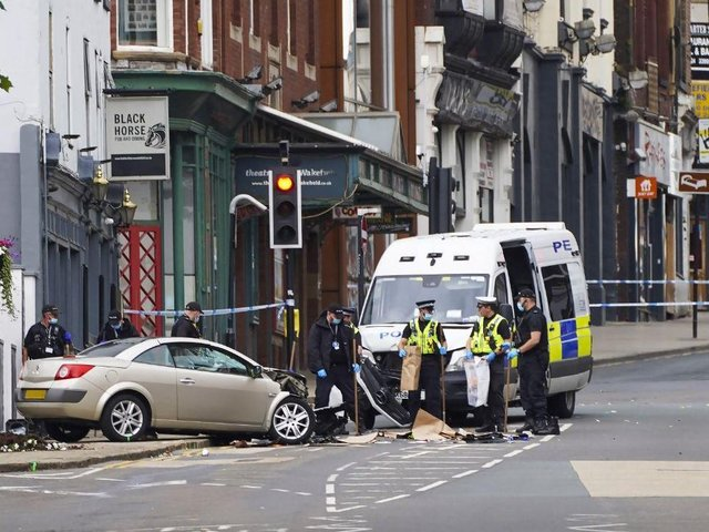 The Megane collided with the police van.