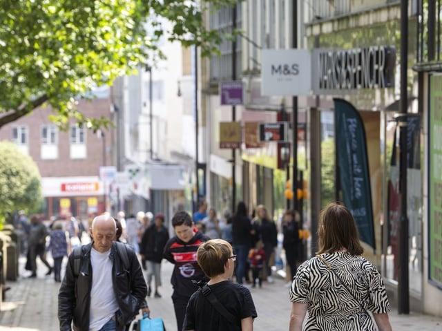 Shopper in Wakefield stock image